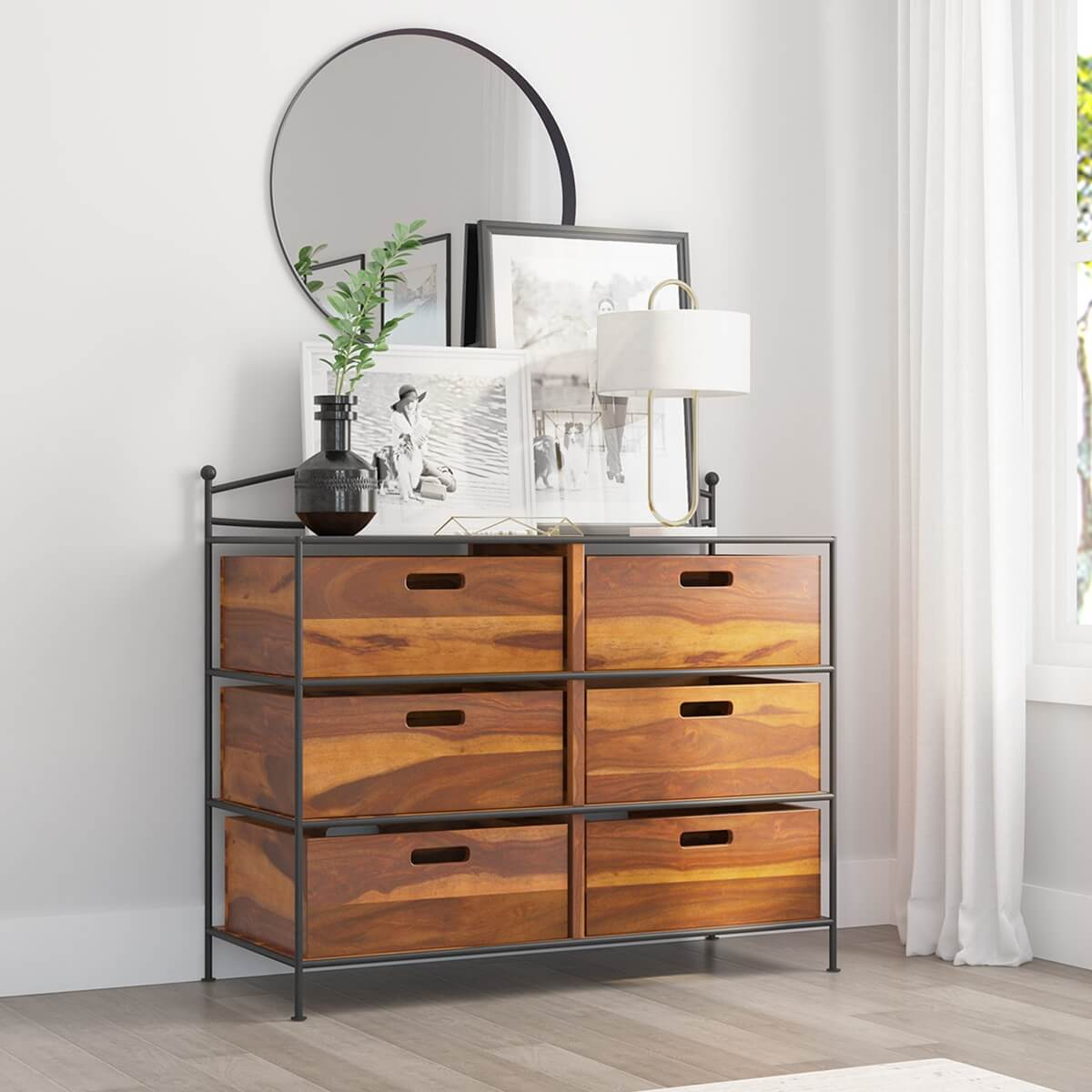 Nome Industrial Iron And Solid Wood 6 Drawer Bedroom Dresser