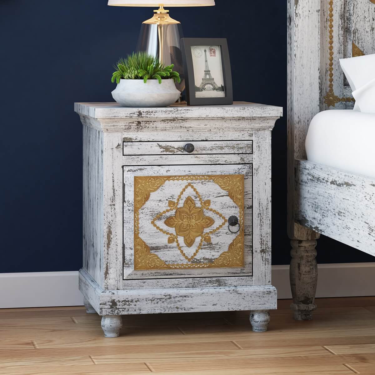 Tudor Brass Inlay And Distressed Solid Mango Wood Nightstand