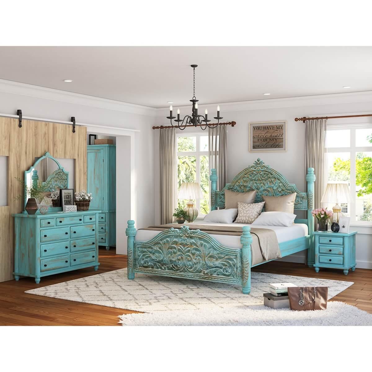 Victorian Bedroom: Victorian Turquoise 4 Piece Bedroom Set