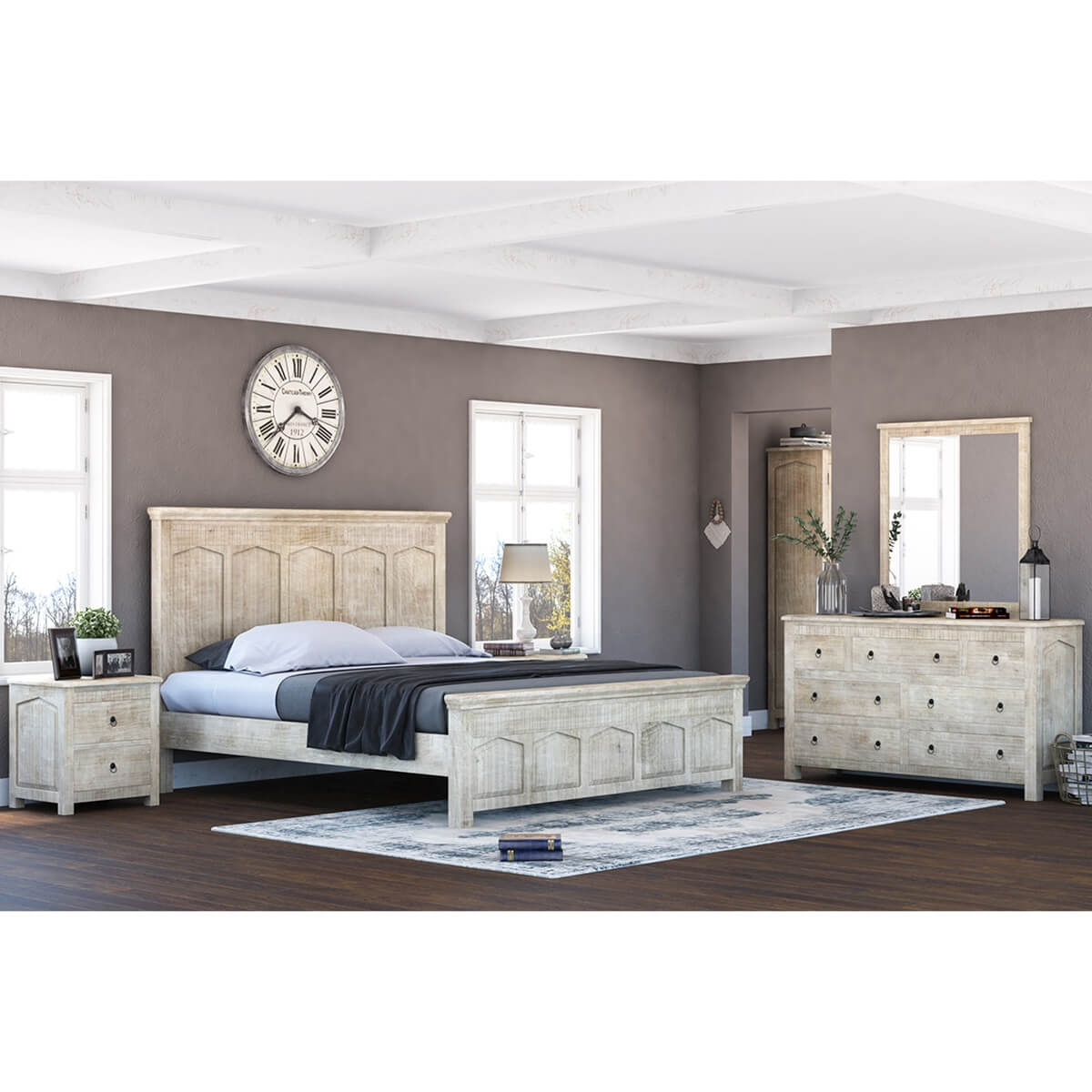Mission Winter White 4 Piece Bedroom Set