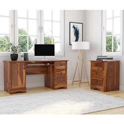Gisela Solid Wood Computer Desk with File Cabinet
