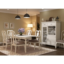 Anderra Mahogany Wood White 8 Piece Dining Room Set