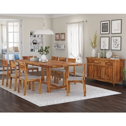 Delaware Rustic Solid Wood 10 Piece Dining Room Set