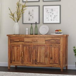 Delaware Rustic Solid Wood 3 Drawer Large Sideboard Cabinet