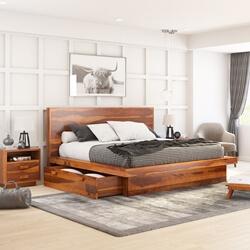 Brocton Rustic Solid Wood Low Height Storage Platform Bed