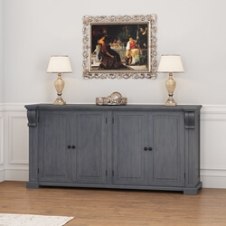 San Marino Solid Mahogany Wood Large Grey Sideboard Cabinet