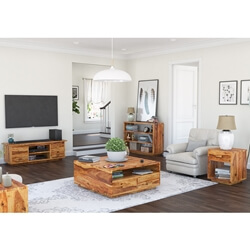 Delaware Rustic Solid Wood 5 Piece Living Room Set