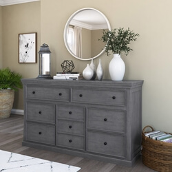 Kelowna Solid Mahogany Wood Gray Dresser with 9 Drawers
