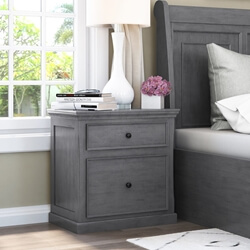 Kelowna Mahogany Wood Gray Nightstand with 2 Drawers