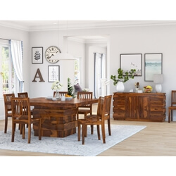 Modern Simplicity Solid Wood 10 Piece Dining Room Set