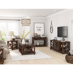 Antwerp Rustic Solid Wood 5 Piece Living Room Set