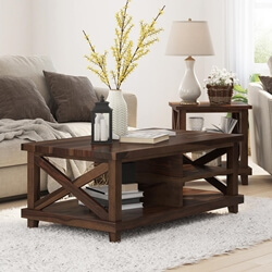 Antwerp Solid Wood Rustic Two Tier Coffee Table