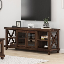 Antwerp Solid Wood Rustic TV Media Stand with Glass Door Cabinet