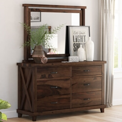 Antwerp Rustic Solid Wood Bedroom Dresser with 6 Drawers