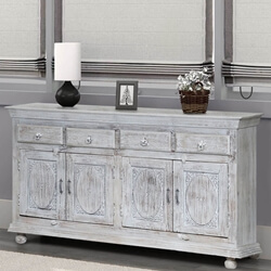 Charleston Reclaimed Wood Distressed Large Sideboard Buffet Cabinet