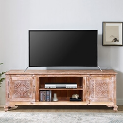 Gosnold Antique Style Reclaimed Wood TV Media Console With Cabinets