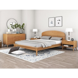 Avondale Modern Style Teak Wood 4 Piece Bedroom Set