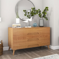 Avondale Teak Wood Scandi-Modern Dresser With 3 Drawers