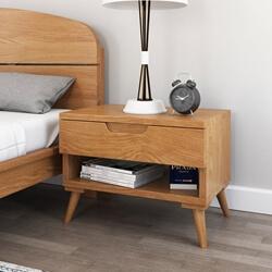 Avondale Teak Wood Scandi-Modern Nightstand With Drawer