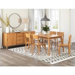 Avondale Teak Wood 8 Piece Modern Dining Room Set