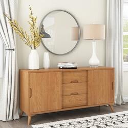 Avondale Teak Wood 3 Drawer Modern Style Large Sideboard Cabinet