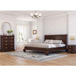 Oraibi 4 Piece Mahogany Wood Bedroom Set