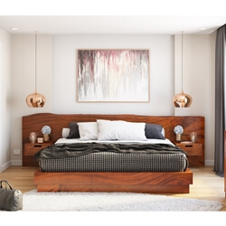 Batesville Solid Wood Platform Bed w Single Slab Live Edge Headboard