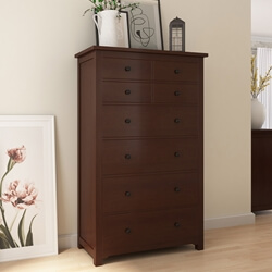 Bradenton Solid Mahogany Wood Tall Dresser with 8 Drawers