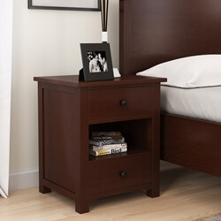 Bradenton Solid Mahogany Wood Nightstand with 2 Drawers