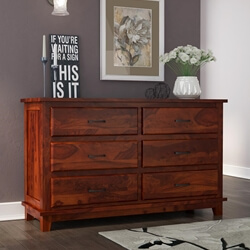 Sierra Nevada Rustic Solid Wood Double Dresser with 6 Drawers