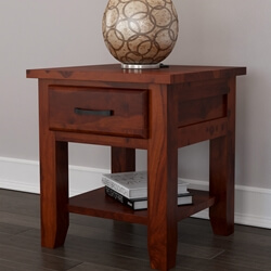 Sierra Nevada Rustic Solid Wood Nightstand with Drawer