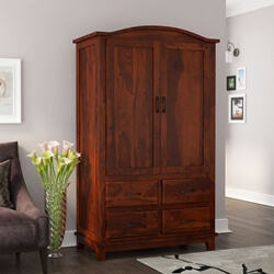 Sierra Nevada  Rustic Solid Wood Large Wardrobe Armoire with Drawers