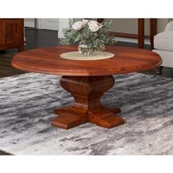Sierra Nevada Rustic Solid Wood Pedestal Round Coffee Table