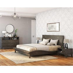 El Dorado Mahogany Wood Gray 4 Piece Bedroom Set