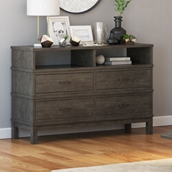 El Dorado Mahogany Wood Gray Bedroom Dresser with 4 Drawers