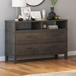 El Dorado Mahogany Wood Gray Bedroom Dresser with 4 Drawers