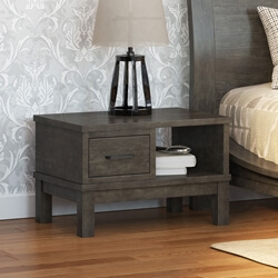 El Dorado Mahogany Wood Gray Nightstand with Drawer