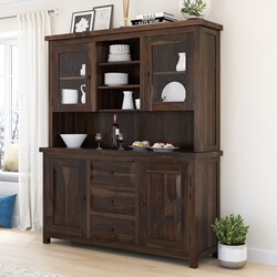 El Paso Rustic Solid Wood Glass Door Dining Room Hutch