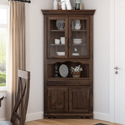 Tiverton Rustic Solid Wood Glass Door Dining Corner Hutch