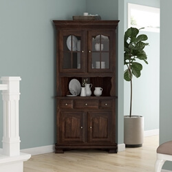Carlinville Rustic Solid Wood Glass Door Corner Hutch