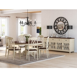 Carrollton Two Tone Mahogany Wood 8 Piece Dining Collection