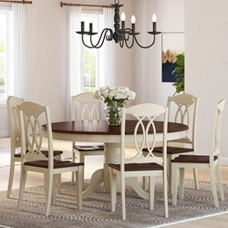 Carrollton Two-Tone Mahogany Wood Round Dining Table & Chair Set