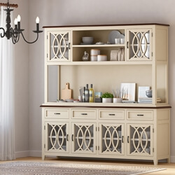Carrollton Two Tone Mahogany Wood Dining Room Kitchen Hutch