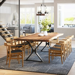 Laconia Solid Wood Live Edge Dining Table and 10 Chair Set