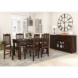 Oklahoma Farmhouse Solid Rosewood Traditional 8 Piece Dining Room Set