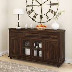 Oklahoma Farmhouse Traditional Rustic Rosewood Large Sideboard Cabinet