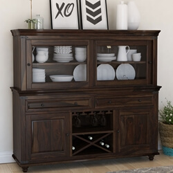 Oklahoma Farmhouse Traditional Rosewood Dining Room Buffet with Hutch