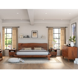 Levi Acacia Wood Rustic 4 Piece Live Edge Bedroom Set