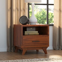 Levi Acacia Solid Wood Open Shelf Nightstand with 1 Drawer