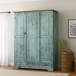 Scranton Ocean Blue Two Tone Farmhouse Solid Wood Large Wardrobe Armoire